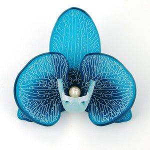 3d Orchid Brooch Frosted French Teal