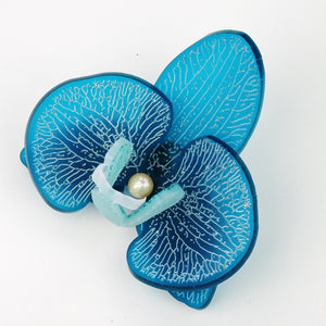 3d Orchid Brooch Frosted French Teal - MissJ Designs