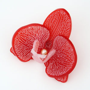 3d Orchid Brooch Frosted Ruby Red - MissJ Designs