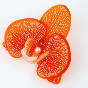 3d Orchid Brooch Frosted Valencian Orange - MissJ Designs