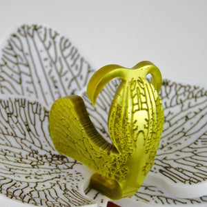 close up of 3d Orchid Brooch Solid Gold by MissJ www.missj.eu