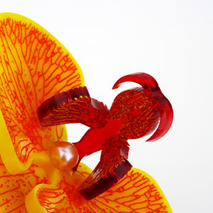 Blood Red on Tropical Yellow Limited Edition Orchid Brooch