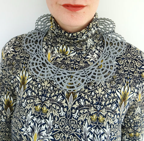 Victorian Leather Woven Collar Grey - MissJ Designs