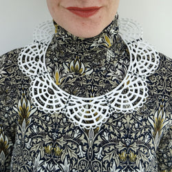Victorian Leather Woven Collar White