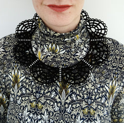 Victorian Leather Woven Collar Black