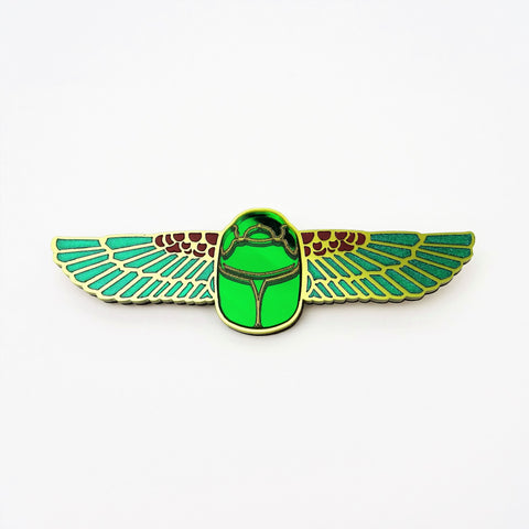 Winged Scarab Beetle Brooch