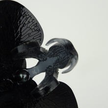 Halloween Special Black 3d Orchid Brooch with Black Pearl