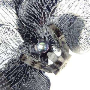 Halloween Special Smokey Black Mirror 3d Orchid Brooch with Peacock Pearl LIMITED EDITION - MissJ Designs