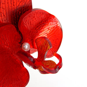 Red Mirror Christmas Orchid Brooch