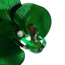 Green Mirror Christmas Orchid Brooch