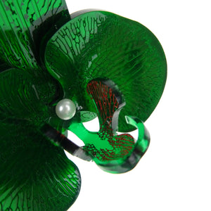 Green Mirror Christmas Orchid Brooch LIMITED EDITION - MissJ Designs