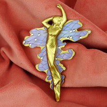 Water Bearer Art Nouveau inspired brooch made by laser cutting acrylic and 3d printing. Sprayed gold. On velvet background. Made by www.missj.eu