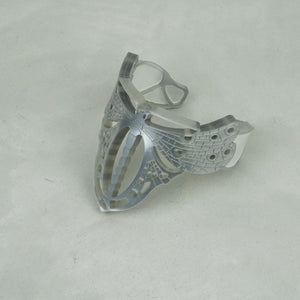 Silver Moth Art Nouveau Cuff with white pearl Insets. - MissJ Designs