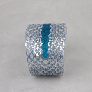 Water & Lily Pads Art Nouveau Cuff in Silver Glitter and Teal Blue inset.