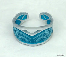 Silver Art Nouveau Cuff with Teal frost acrylic inserts. - MissJ Designs