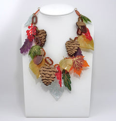 Autumn Leaves & Berries Statement Necklace - MissJ Designs