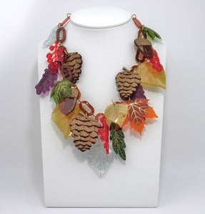 Autumn Leaves & Berries Statement Necklace