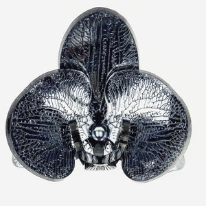 Halloween Special Smokey Black Mirror 3d Orchid Brooch with Peacock Pearl - MissJ Designs