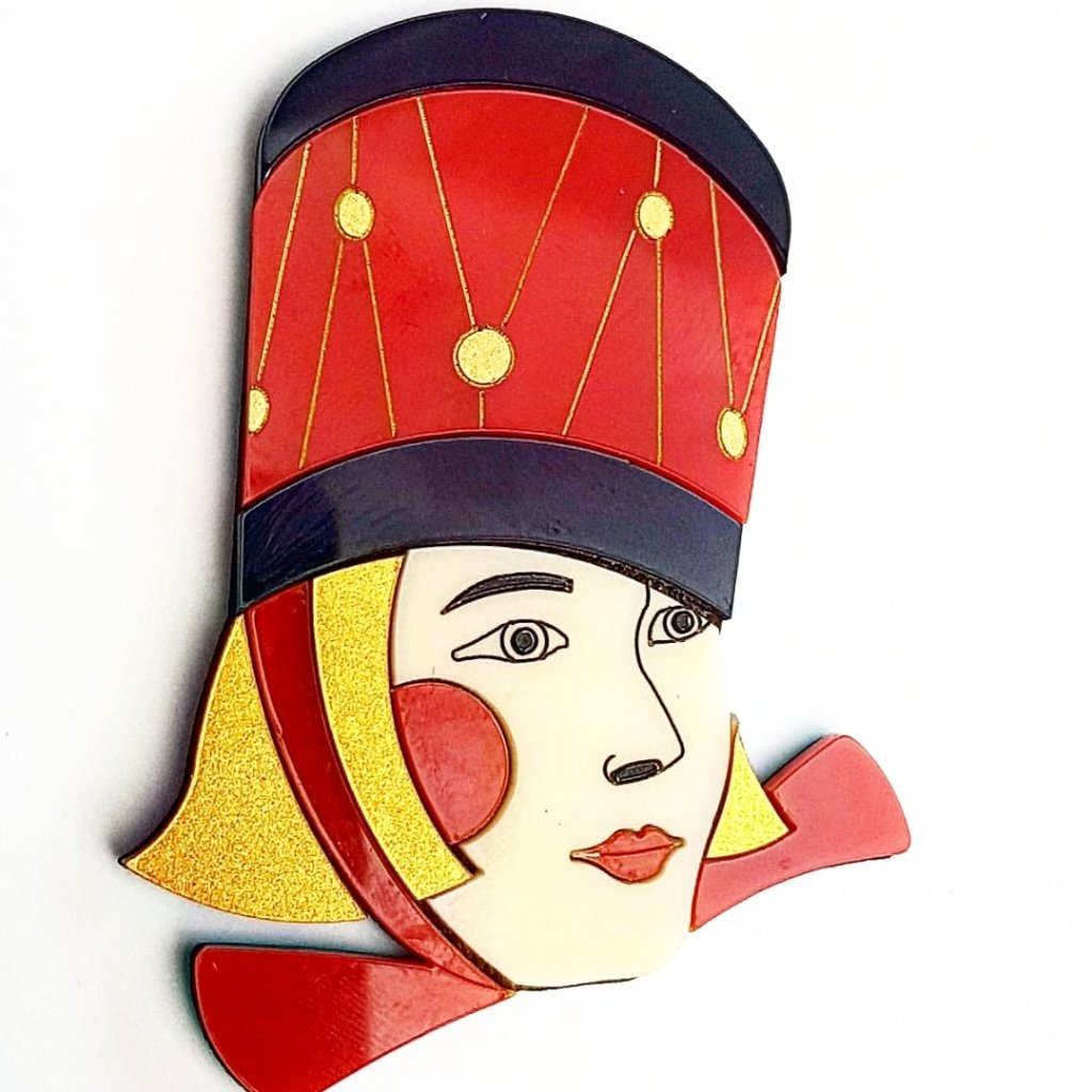 Drummer Girl Christmas Theme Brooch