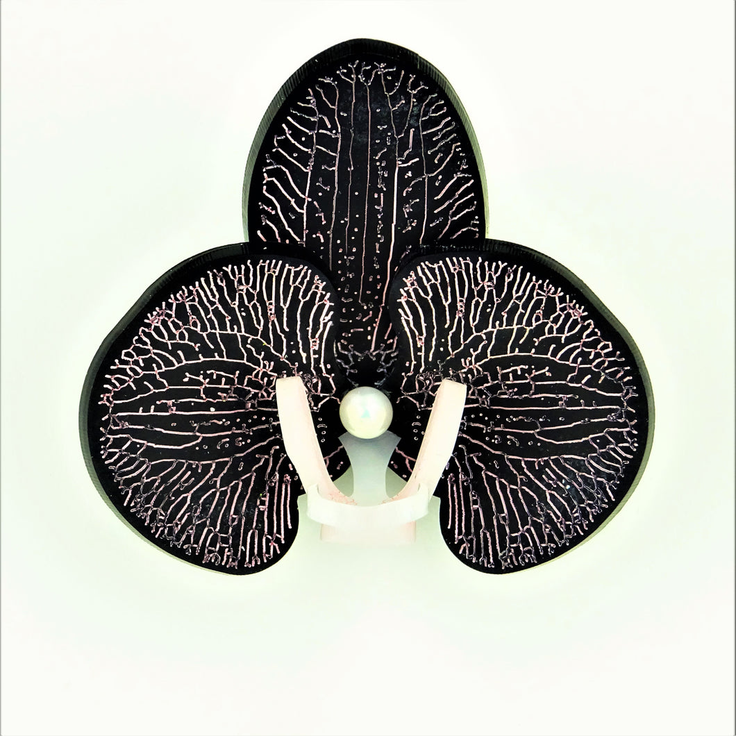 Pink on Matt Black Limited Edition Orchid Brooch - MissJ Designs