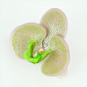 Platinum Pink on Apple Green Limited Edition Orchid Brooch LIMITED EDITION - MissJ Designs