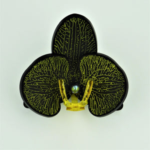 Yellow on Matt Black Limited Edition Orchid Brooch SOLD OUT - MissJ Designs