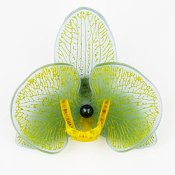 Yellow on Sea Blue Limited Edition Orchid Brooch SOLD OUT - MissJ Designs