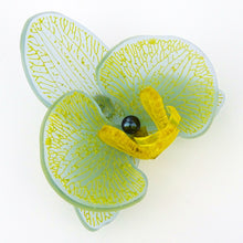 Yellow on Sea Blue Limited Edition Orchid Brooch