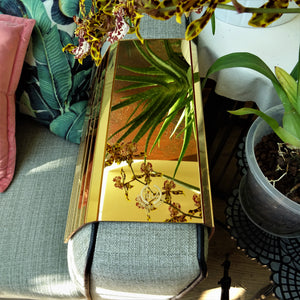 Sofa Arm Tray Gold Mirror Acrylic