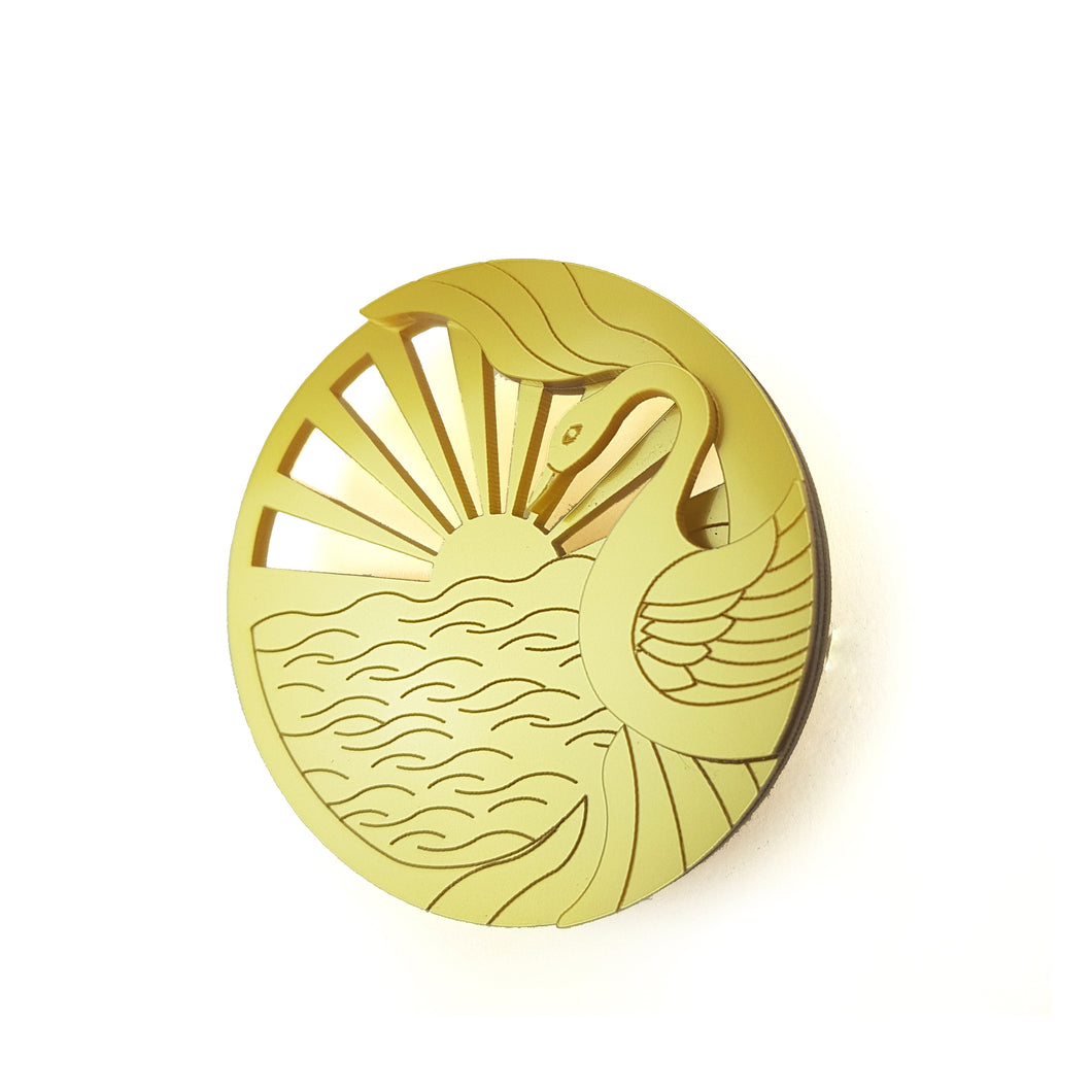 Golden Dawn Swan Brooch