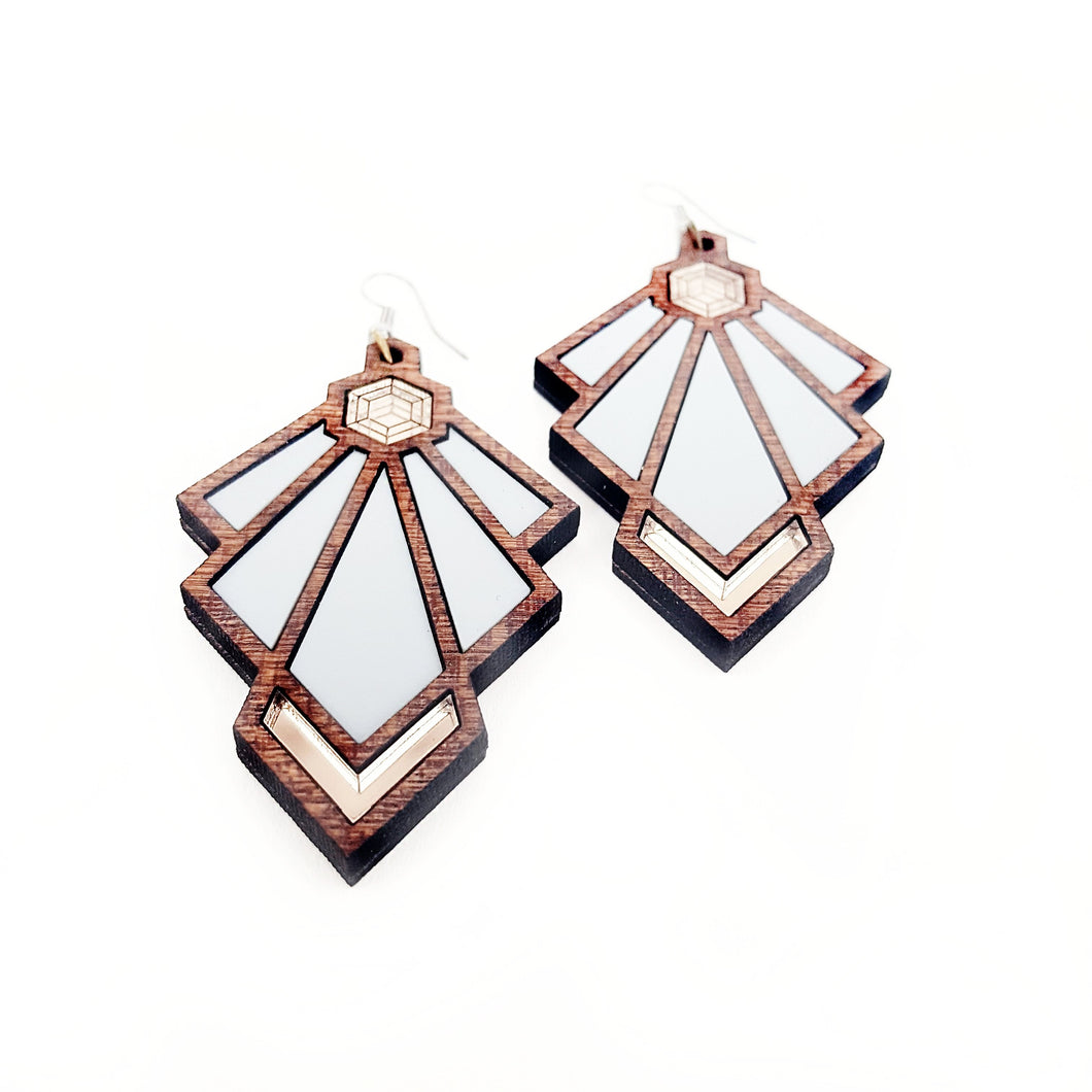 Art Deco Tulip Earrings Gray Variant - MissJ Designs