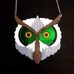Barn owl necklace statement piece - MissJ Designs
