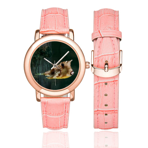 Kissy Time Women's Rose Gold Leather Strap Watch