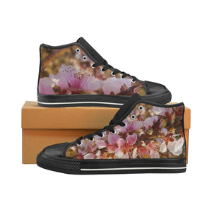 Pink Blooming Women's Classic High Top Canvas Shoes