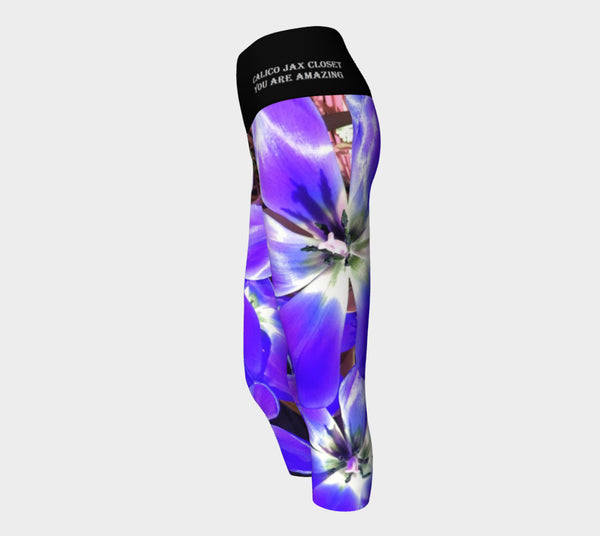 Purple Flower Power Yoga Capri