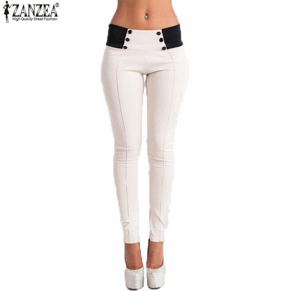 f48a1550e7e Zanzea Pencil Pants 2017 Autumn Women Slim Low Waist Pants Sexy Ladies  Casual Skinny Trousers Feet