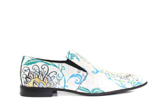 MEN Shoes - White Blue Flower