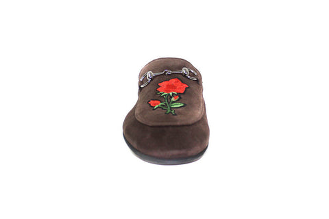 Slippers - Brown Suede Flower  (Unisex)