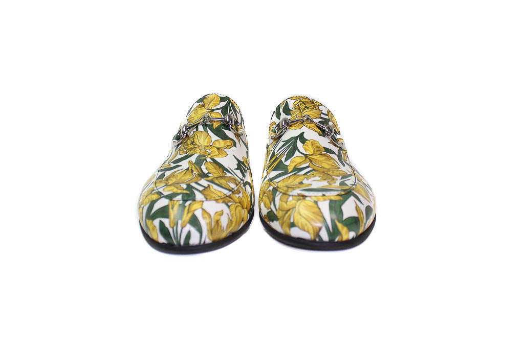 Slippers - White Yellow Flowers  (Unisex)