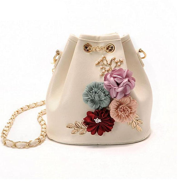 Handmade Flowers Bucket Bags Mini Shoulder Bag w/ Chain Drawstrings Leave Decals