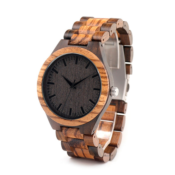 Bobo Bird Vintage Round Wooden Watch With Zebra Bamboo Wood Strap Watch For Men