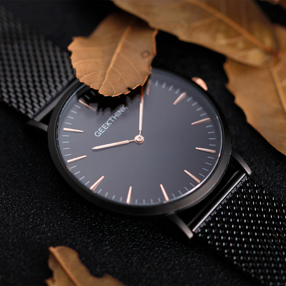 Ultra Thin Watches With Stainless Steel & Fine Mesh Strap For Men & Women