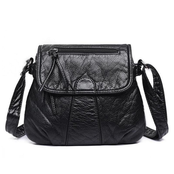 Women's Messenger Bag Soft PU Leather Shoulder Bag Fashion Handbags Black