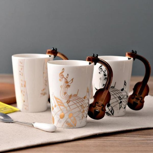 Novelty Ceramic Music Note Mug For Coffee Milk Tea Home Kitchen Office Drinkware