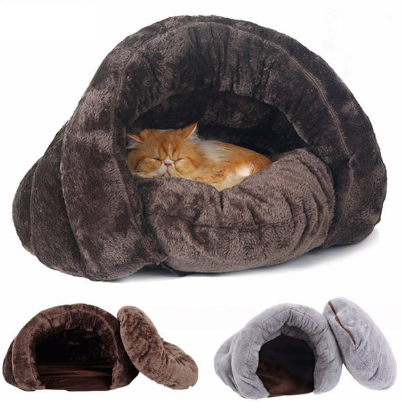 Pet Dog Cat Bed Warm Soft Sleeping Bag Kitten House w/ Sack Bed Kennel Cave