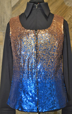 Gold Royal Blue Ombre XL Vest - Show Stoppin'