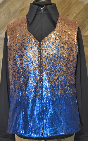 Gold Royal Blue Ombre 2XL Vest - Show Stoppin'