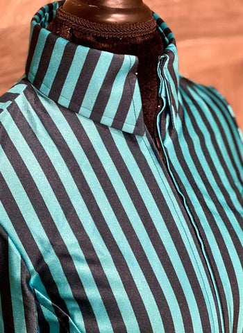 Turquoise N Black Stripes
