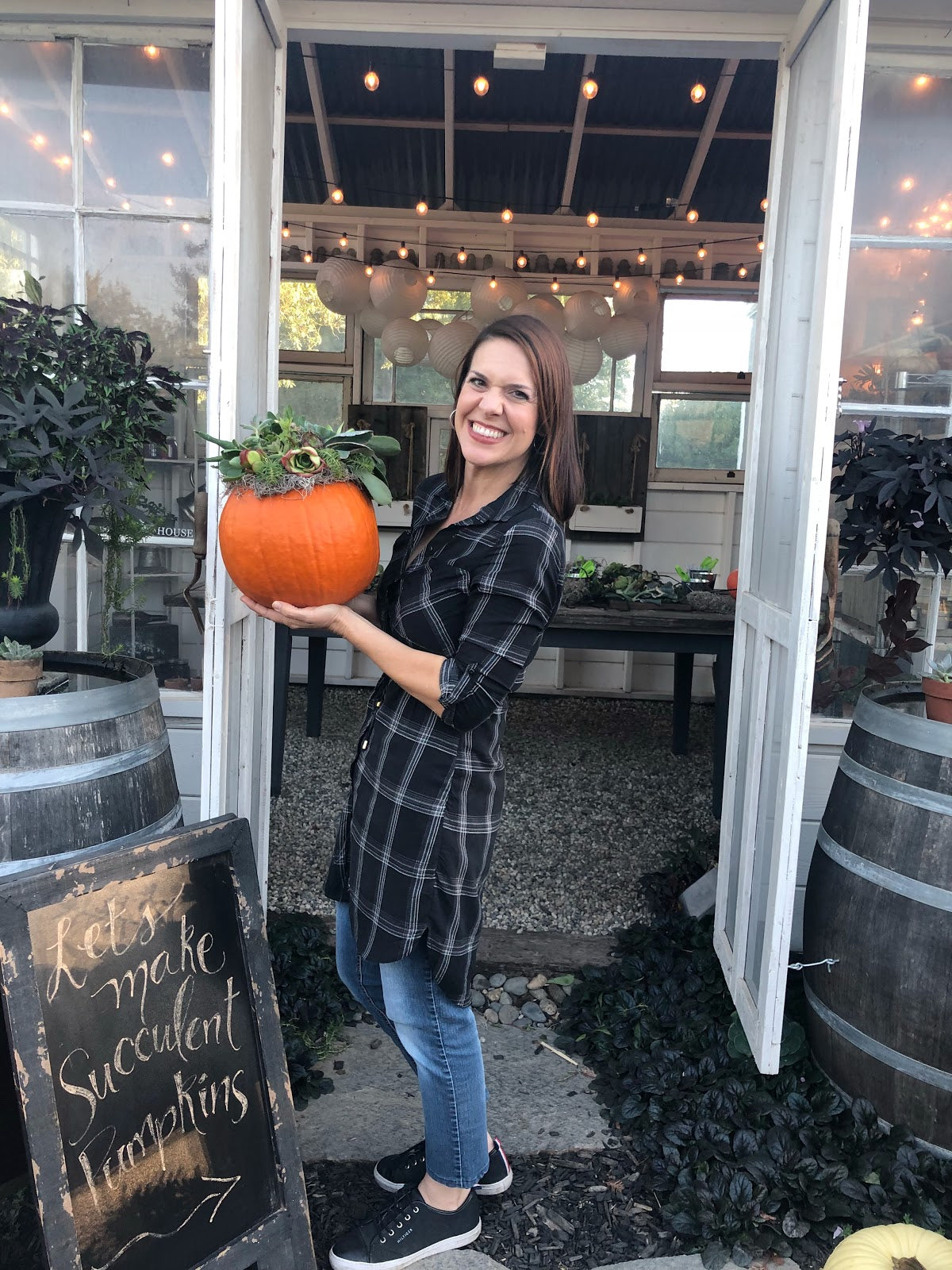 Julia Terpstra with her succulent pumpkin