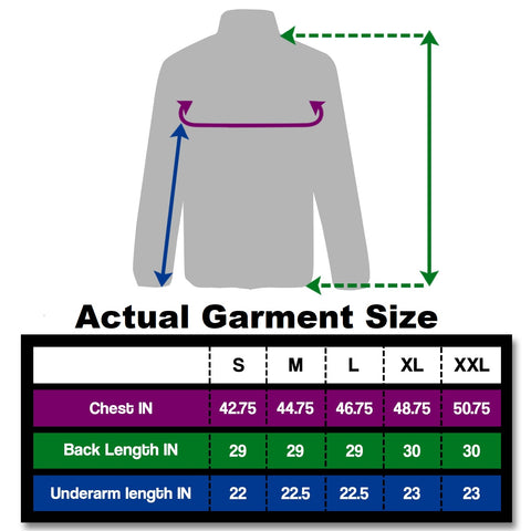 Jacket from BTR Be Totally Reflective size charts Small to XL